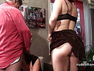 Two Amateur Sluts Sharing An Old Dick