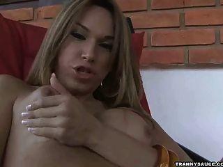 Sexy Latina Tranny Jerking Her Cock