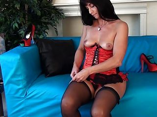 British slut danica plays with herself on a chair 8