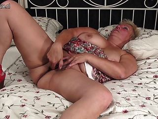 Booty Ass And Busty Granny With Toy