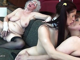Granny Fucks Her Young Girl And Mature Milf