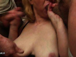 Granny Fucks Multiple Cocks And Get Bukkake