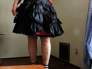 Sissy Ray In Black Ruffled Skirt And Sexy Heels