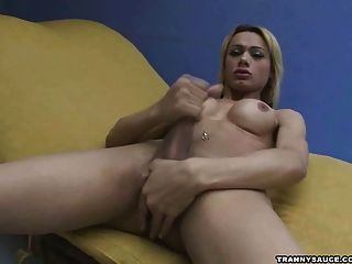 Slutty Blonde Tranny Jerking Her Meat For The Camera