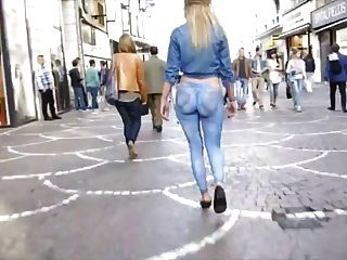 Hot Blonde Wears A Painted Jeans In Public