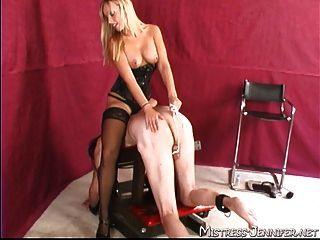 Blonde Mistress Samantha Tortures Old Mans Balls