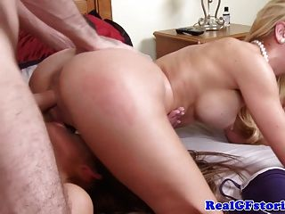Blonde Milf Threeway Fuck With Babe