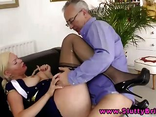 A Sexy Young Blonde Sucking Old Guys Dick