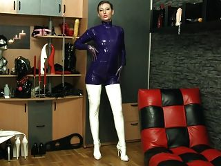 Purple And White Suit And Stockings - All Latex