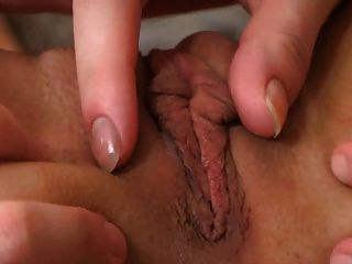 Close up of lesbo wet pussy