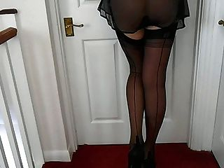 Black Nylon See Though French Knickers