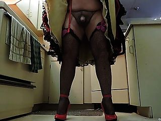 Sissy Ray In Black Ruffled Skirt In Kitchen (cock Closeup)