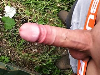 Play With My Big Hard White Cock Outdoors!