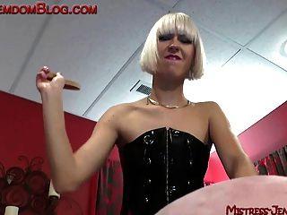 Blonde Brutal Femdom Punishes Male Slave