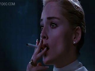 Celeb Sharon Stone Flashing Her Pussy
