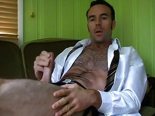 Hairy Hunk Jerking Off