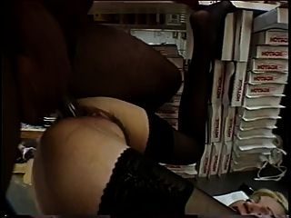 Blonde Slut In Lingerie Sucks Two Black Cocks Then Fucks