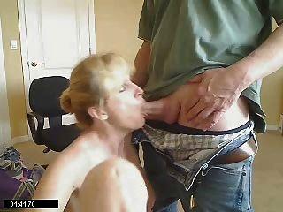 Licks up cum