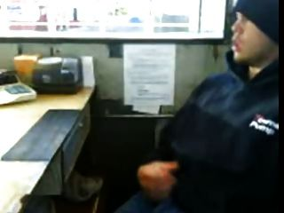 Cute Redneck Jerking Off At Work