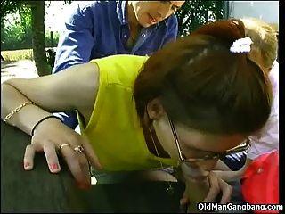 Slutty Waitress Gangbang