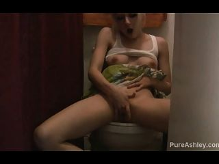 Ashley Caught Masturbating In Bathroom