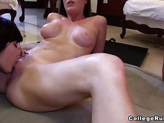 1st Time Pussy Eating, Fingering, And Cumming