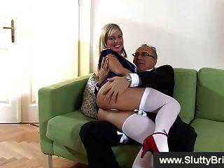 Slutty Blonde In Pink Underwear