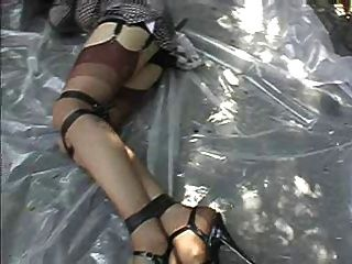 Tranny Gagged And Tied Outside