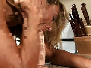 Busty Anilos Brenda James Rides A Dong On Kitchen Floor