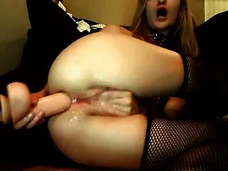 Huge Anal Dildo Used By Girl With Nip Chains Till Cum