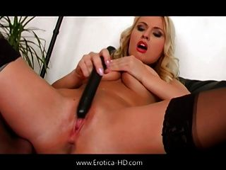 Eva Strips And Teases Her Pussy With Her Dildo