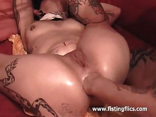 Brutal Double Anal And Vaginal Fisting Destruction
