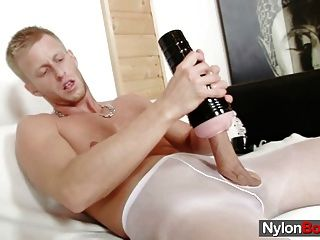 David Masturbates In Nylons Till Him Cums On His Pantyhose