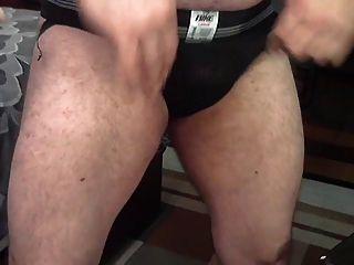 Hairy Coach Showing Off In A Jockstrap
