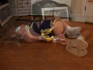 Blonde Cheerleader Hogtied And Duct Tape Gagged