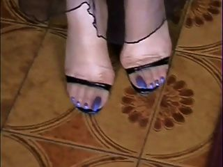 My Naked And In Stockings Long Blue Toes!!!!!