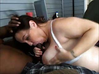 Amateur Busty Brunette Wife Sucks Black Dick