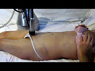Cuckold milked to oblivion by male milking machine 8