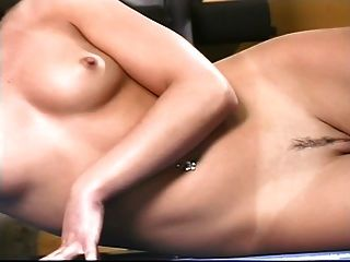 Sexy Brunette With Perky Tits Works Out On Weight Machine