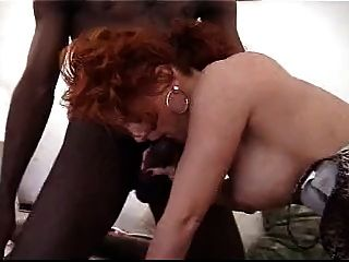 Black Dudes Share Redhead Cutie With Huge Creampie