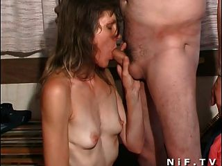 French Mature Slut Fucks With An Old Man