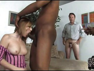 White Slut Wife Fucks Two Black Guys In Front Of Cuckold