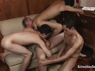 Geezer Gets Lucky With Three Twinks Part 2