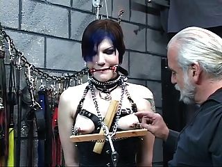 Gorgeous Young Blindfolded Brunette In Corset Is Tortured By Master Len