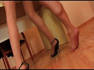 Pantyhose Girl With Black Heels Is Getting Fucked