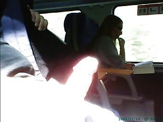 Masturbation In Front Of Girl In Glasses On Train