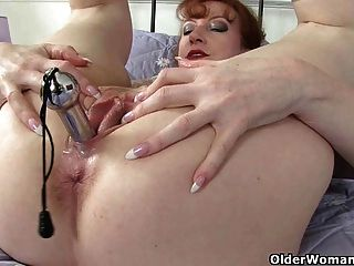 British Milf Red Peels Off Her Tights And Fucks Herself