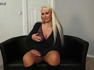 Big Breasted German Mom Pleasing Herself