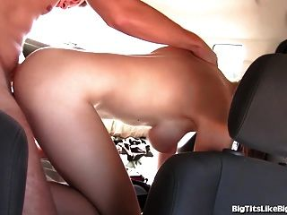 Busty Girl Fucked In The Backseat!