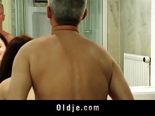 Skinny Old Man Bonks Lusty Big Titty Teeny In The Bathroom